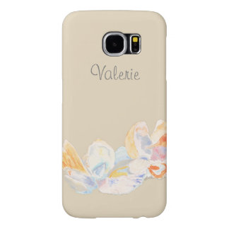 Pastel Watercolor Seashell Name Samsung Galaxy S6 Cases