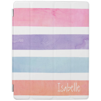 Pastel Watercolor Stripe Monogram Pink Orange Teal iPad Cover