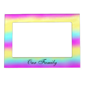 Pastel Watercolor Stripes Magnetic Picture Frame