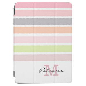 Pastel Watercolors Stripes Custom Monogram iPad Air Cover