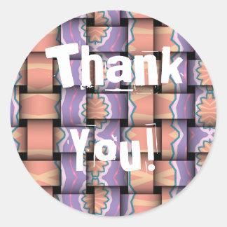 Pastel Weave Thank You Round Sticker