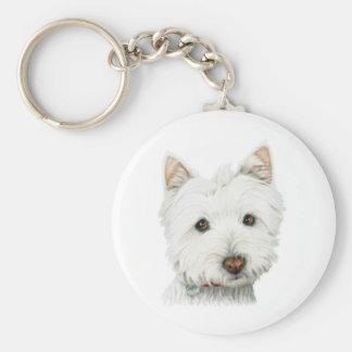 Pastel Westie Dog Basic Round Button Key Ring