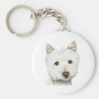 Pastel Westie Dog Key Ring