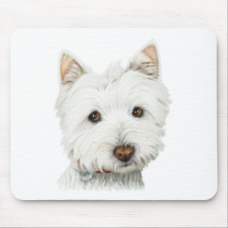 Pastel Westie Dog Mouse Mat