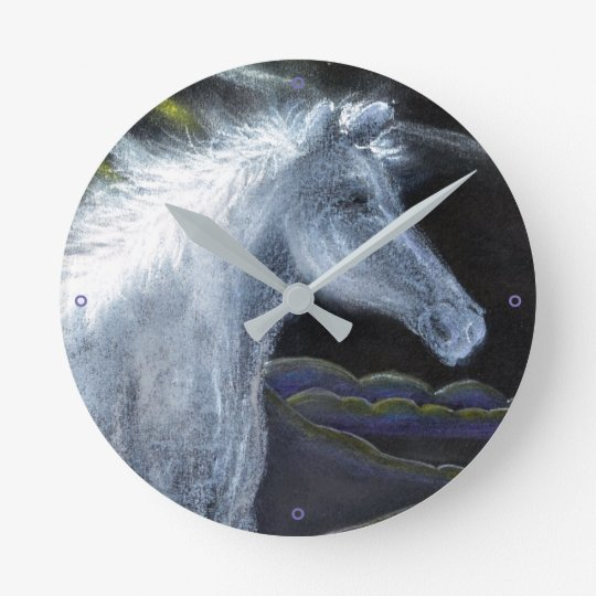 Pastel White Horse Wall Clock