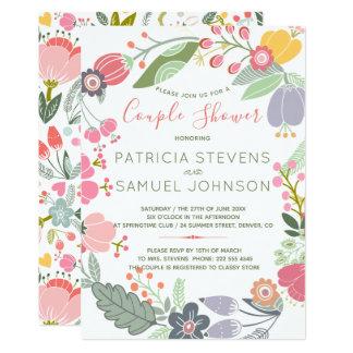 Pastel wildflowers meadow wreath couple shower card