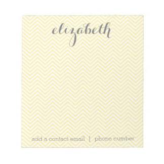 Pastel Yellow and Gray Stationery Suite for Women Notepad