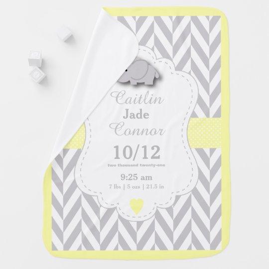 Pastel Yellow Elephant Birth Keepsake Design Baby Blanket