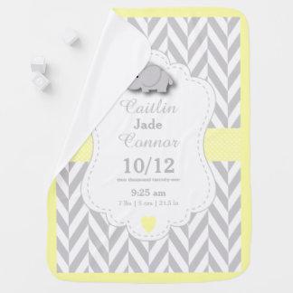 Pastel Yellow Elephant Birth Keepsake Design Receiving Blanket