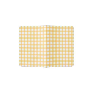 Pastel Yellow Gingham Check Pattern Passport Holder