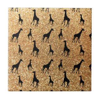 Pastel yellow giraffe glitter pattern small square tile