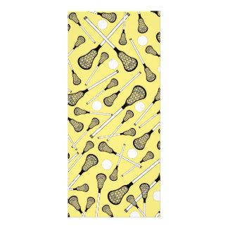 Pastel yellow lacrosse sticks pattern rack card design