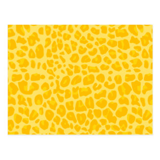 Pastel yellow leopard print pattern postcard