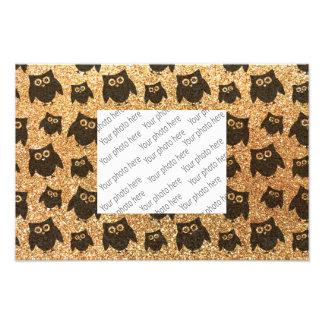 Pastel yellow owl glitter pattern photo art