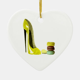 Pastel Yellow Stiletto and French Macaroons Art Ceramic Heart Decoration