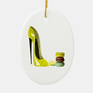 Pastel Yellow Stiletto and French Macaroons Art Ceramic Oval Decoration