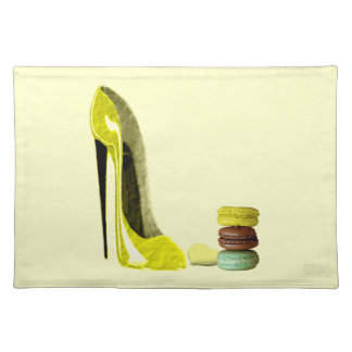 Pastel Yellow Stiletto and French Macaroons Art Placemat