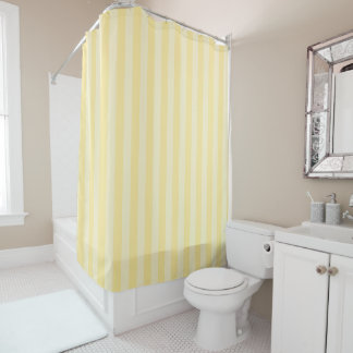 Pastel Yellow Striped Shower Curtain