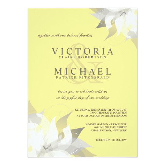 Pastel Yellow White Floral Wedding Invitations | Zazzle.co.uk