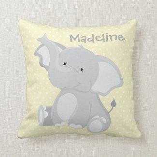 Pastel Yellow-White PolkaDots•Baby Elephant•Custom