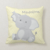 Pastel Yellow-White PolkaDots•Baby Elephant•Custom Cushion