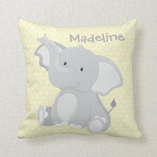 Pastel Yellow-White PolkaDots•Baby Elephant•Custom Cushion