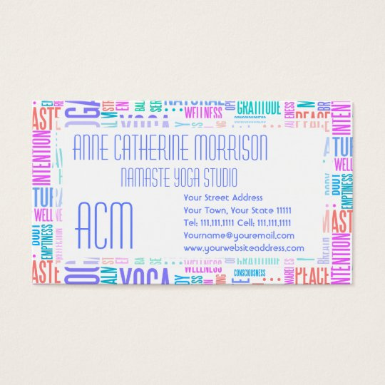 Pastel Yoga Word Cloud Elegant Pattern Business Card