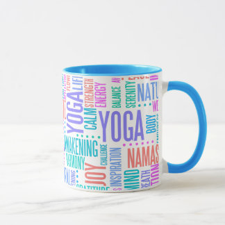 Pastel Yoga Word Cloud Elegant Pattern Mug