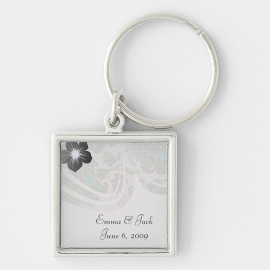 pastels spring floral damask lace Silver-Colored square key ring