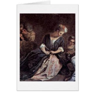 Pastime Of Comedians Detail By Antoine Watteau Greeting Card