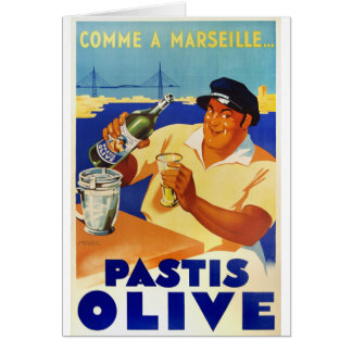 Pastis Olive - Comme a Marseille Greeting Card
