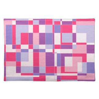 Pastle pinks and purple square design. placemat
