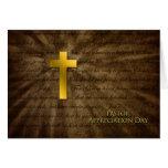 Pastor Appreciation Day - Christian Gold Cross - Greeting Card
