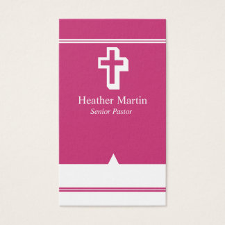 Pastor Business Cards with Cross Hot Pink White