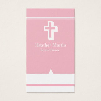 Pastor Business Cards with Cross Pink White