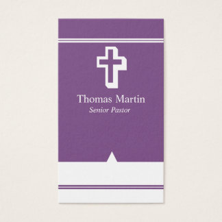 Pastor Business Cards with Cross Purple White