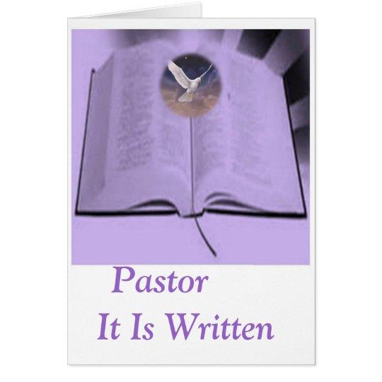 Pastor it is written card