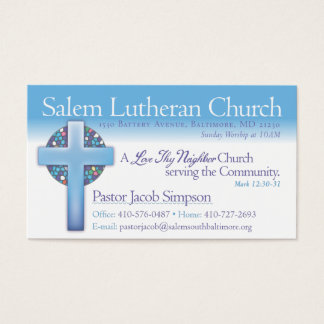 Pastor Jake Salem Lutheran Church Business Card