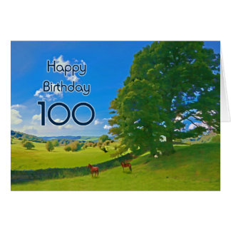 Pastoral landscape painting 100th Birthday card