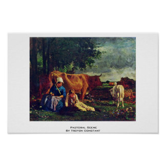 Pastoral Scene By Troyon Constant Print