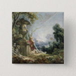 Pastoral Scene, or Young Shepherd in a Landscape 15 Cm Square Badge