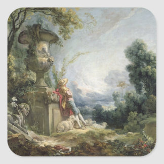 Pastoral Scene, or Young Shepherd in a Landscape Square Sticker