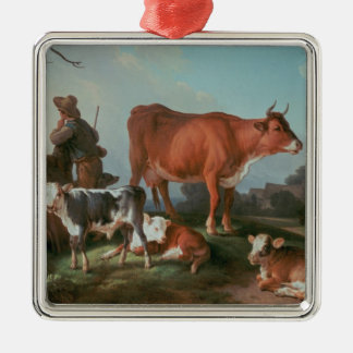Pastoral scene with a cowherd christmas ornament