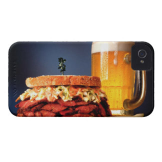 Pastrami sandwich with mug of beer iPhone 4 cover