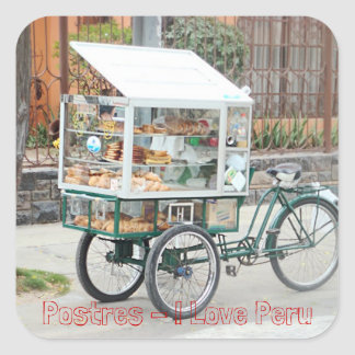 Pastry Cart - I Love Peru Square Sticker