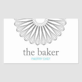 Pastry Chef Baking Whisk Modern Catering Rectangular Sticker