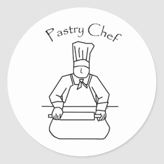 Pastry Chef Rolls Dough Round Sticker