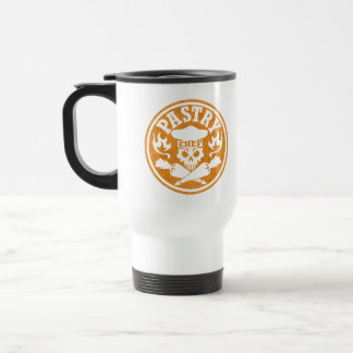 Pastry Chef Skull and Crossed Pastry Bags: Orange Stainless Steel Travel Mug