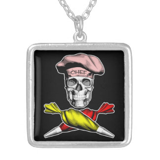 Pastry Chef Skull Square Pendant Necklace