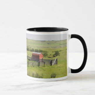 Pasture Fields With A Red Shack And A Fenced Area Mug
